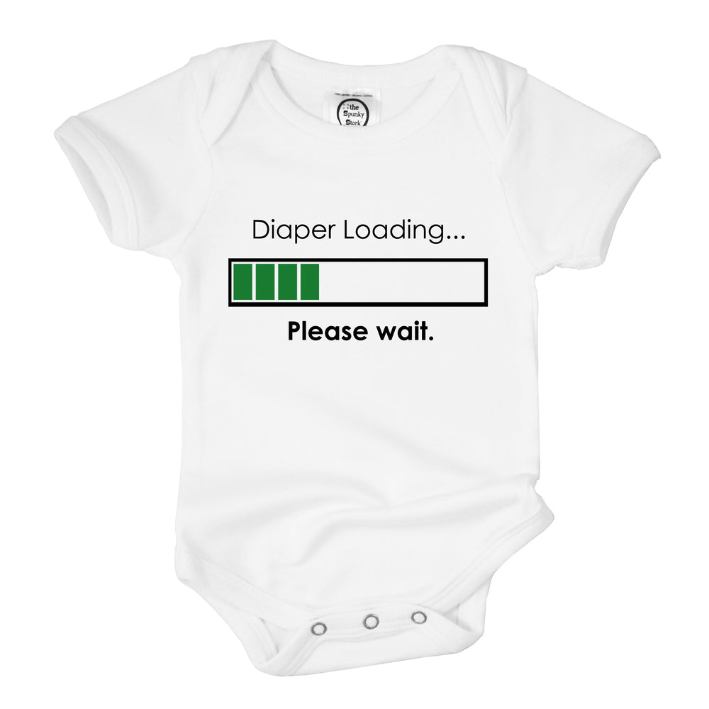 diaper loading funny organic cotton baby shower onesie gift
