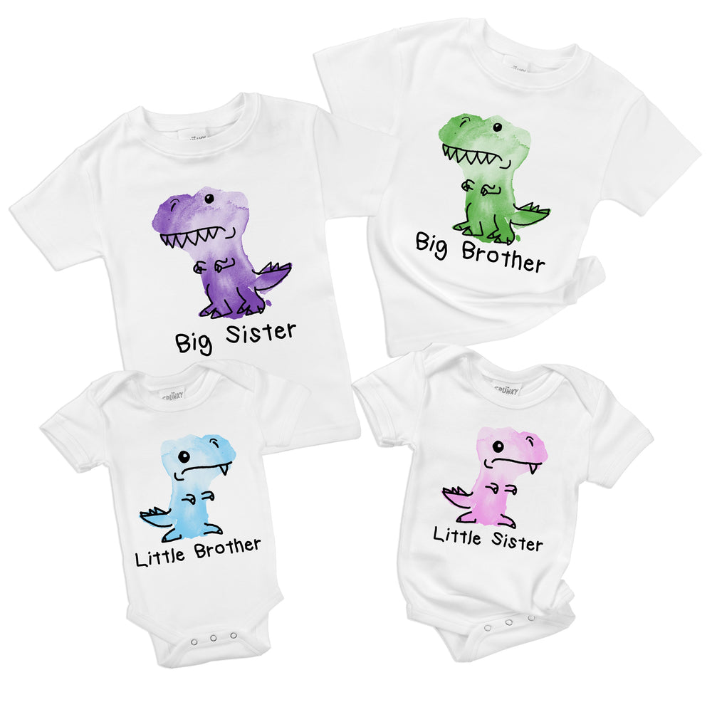 watercolor dinosaurs trex organic cotton big sister little brother matching baby onesie toddler shirt sibling set