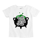 double bubble toil trouble boiling witches brew cauldron halloween organic cotton baby onesie toddler graphic tee shirt
