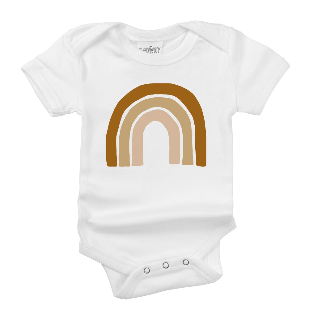 earthy brown unisex rainbow organic cotton baby onesie toddler graphic tee shirt