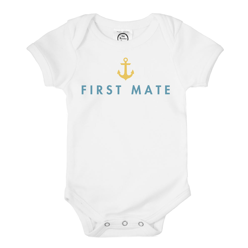 captain first mate father son daughter matching baby onesie toddler tee shirt set sailing boating fathers day nautical gift idea