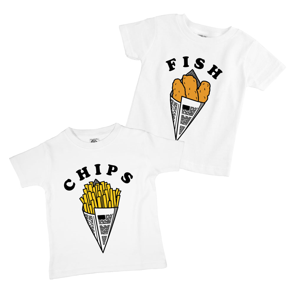 Fish and Chips Organic Cotton Baby Onesie Toddler Shirt Twin Siblings Set
