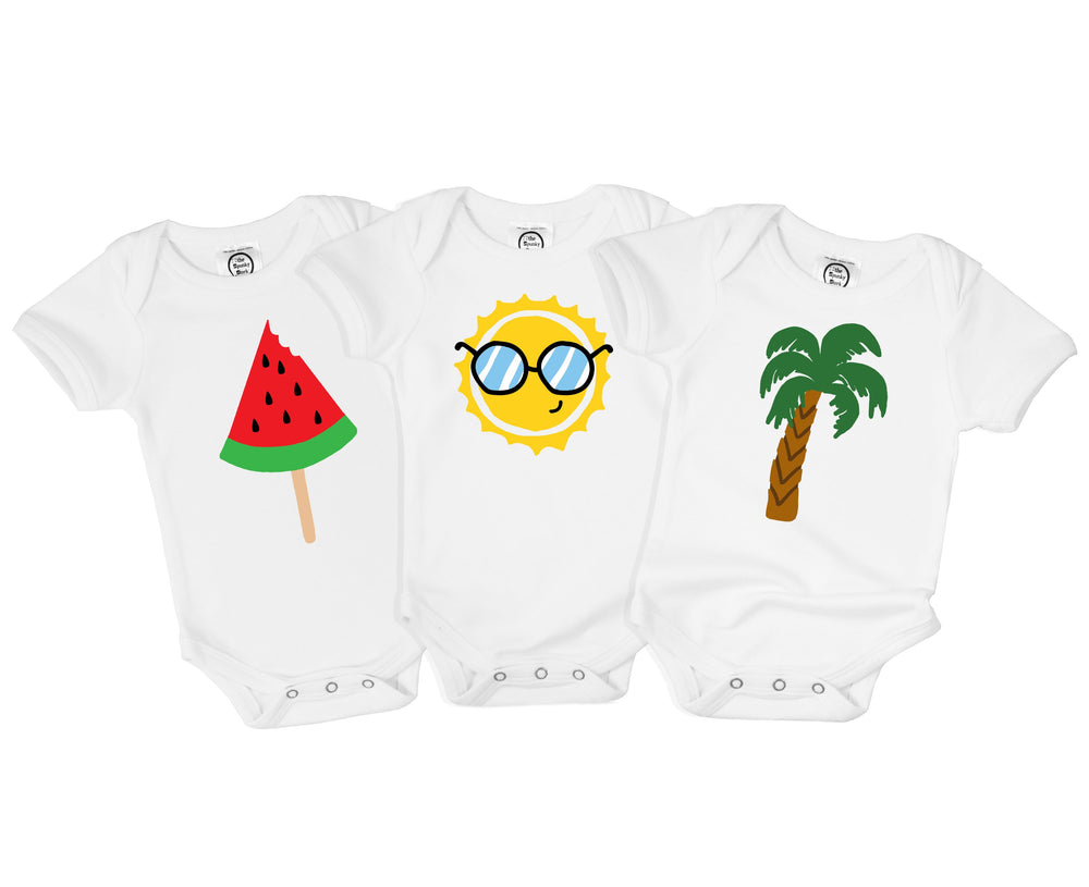 Forever Summer Green Cactus Yellow Orange Sun Watermelon Organic Cotton Baby Onesie Toddler T-Shirt Triplets Set