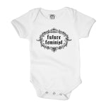future feminist organic cotton female baby girl onesie monochrome toddler shirt