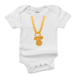 Gold Chain Pacifier Organic Cotton Baby Onesie Toddler Shirt Costume
