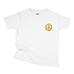 metallic gold foil peace sign symbol organic cotton pocket print baby onesie toddler graphic tee shirt