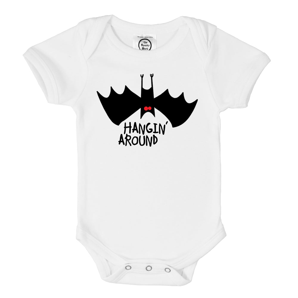 hanging around upsisde down bat halloween organic cotton baby onesie toddler graphic tee shirt