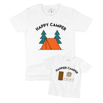happy camper camping tent smores daddy and me father son daughter matching graphic shirt set baby toddler kid