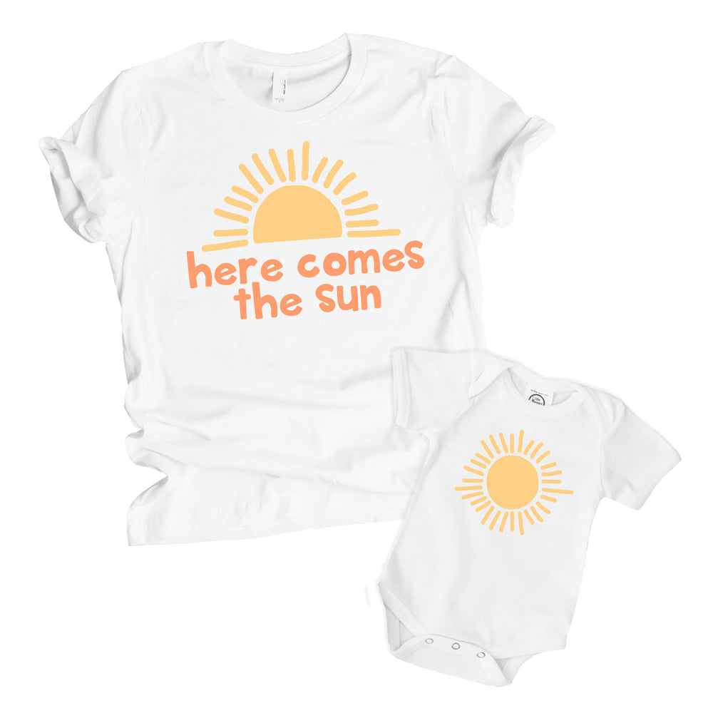 here comes the sun beatles mother daughter son matching mommy me toddler shirt rainbow newborn shower gift
