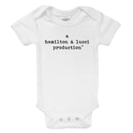 joint production parents names organic cotton customized newborn baby onesie shower gift or pregnancy birth reveal outfit