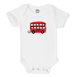 double decker london transport red bus organic cotton baby onesie toddler shirt
