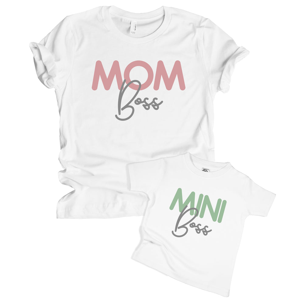 mom boss mini boss funny matching mommy & me baby onesie toddler shirt set
