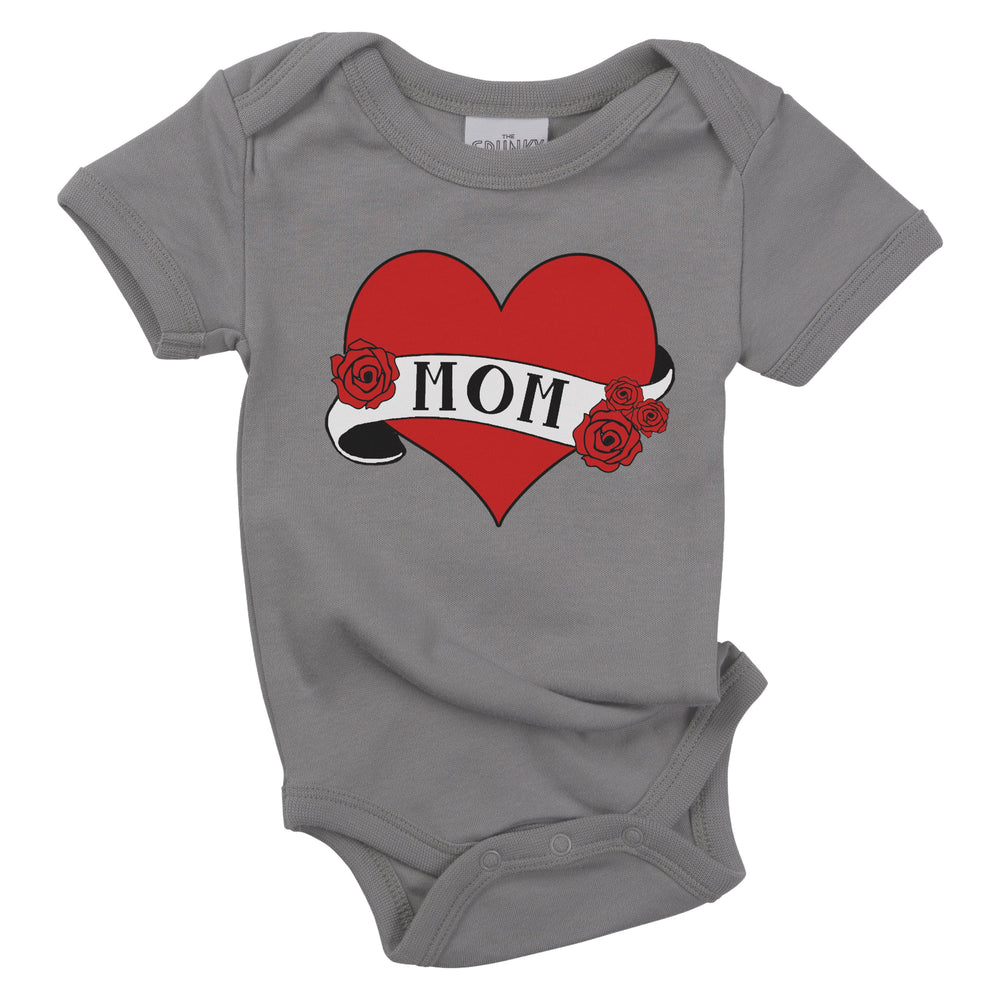 mom heart tattoo organic cotton baby onesie toddler shirt