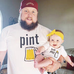 pint and half pint daddy & me matching funny fathers day gift idea baby onesie toddler father son daughter beer shirt set