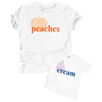 peaches cream mommy & me matching baby onesie toddler kid shirt set retro vintage