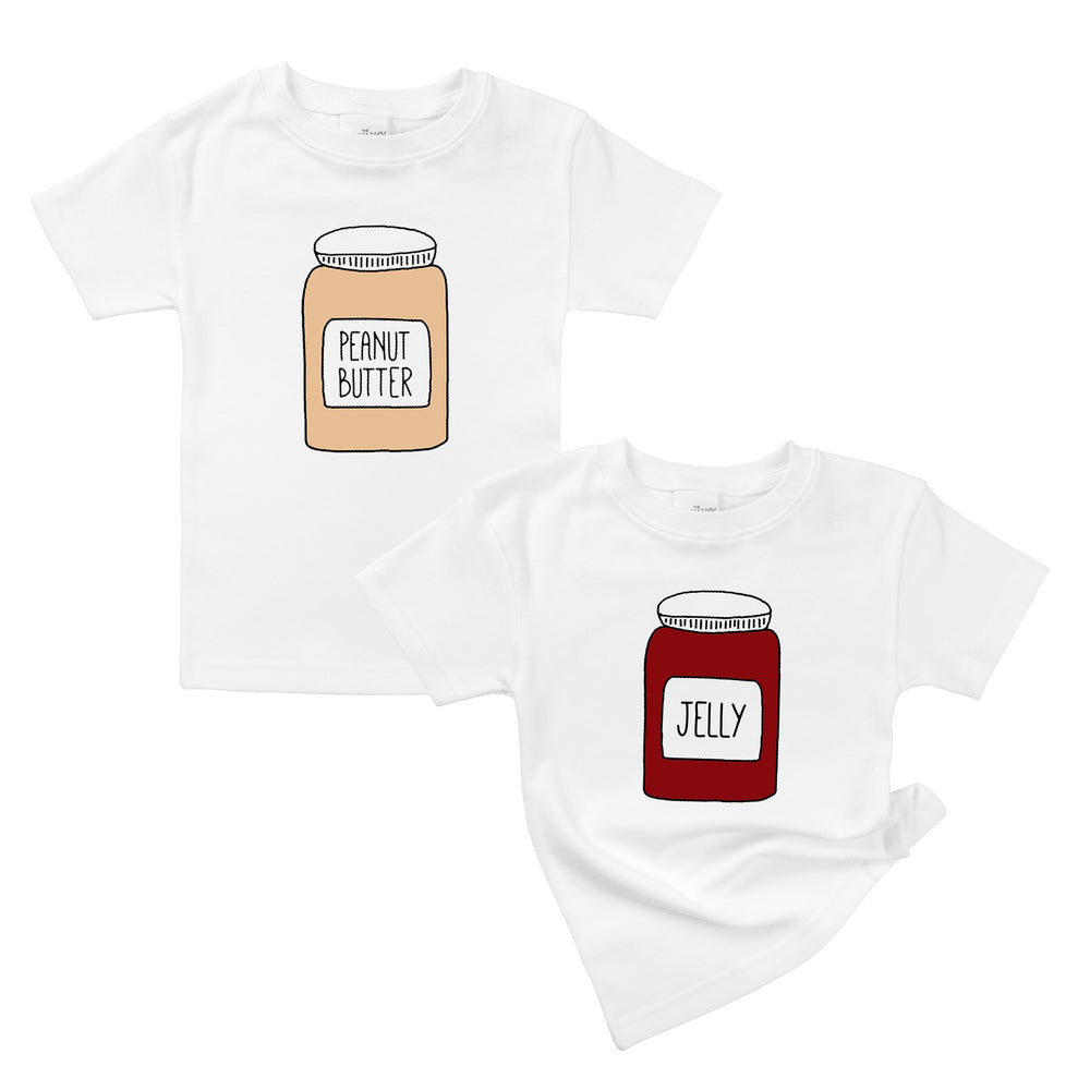 Peanut Butter & Jelly Organic Cotton Baby Onesie Toddler T-Shirt Matching Twin Siblings Set