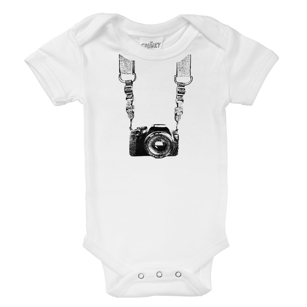photographer camera with straps organic cotton baby onesie toddler shirt