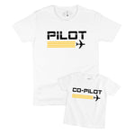 pilot copilot father son daughter matching shirt set outfit baby toddler kids men daddy me fathers day gift idea maverick goose top gun funny