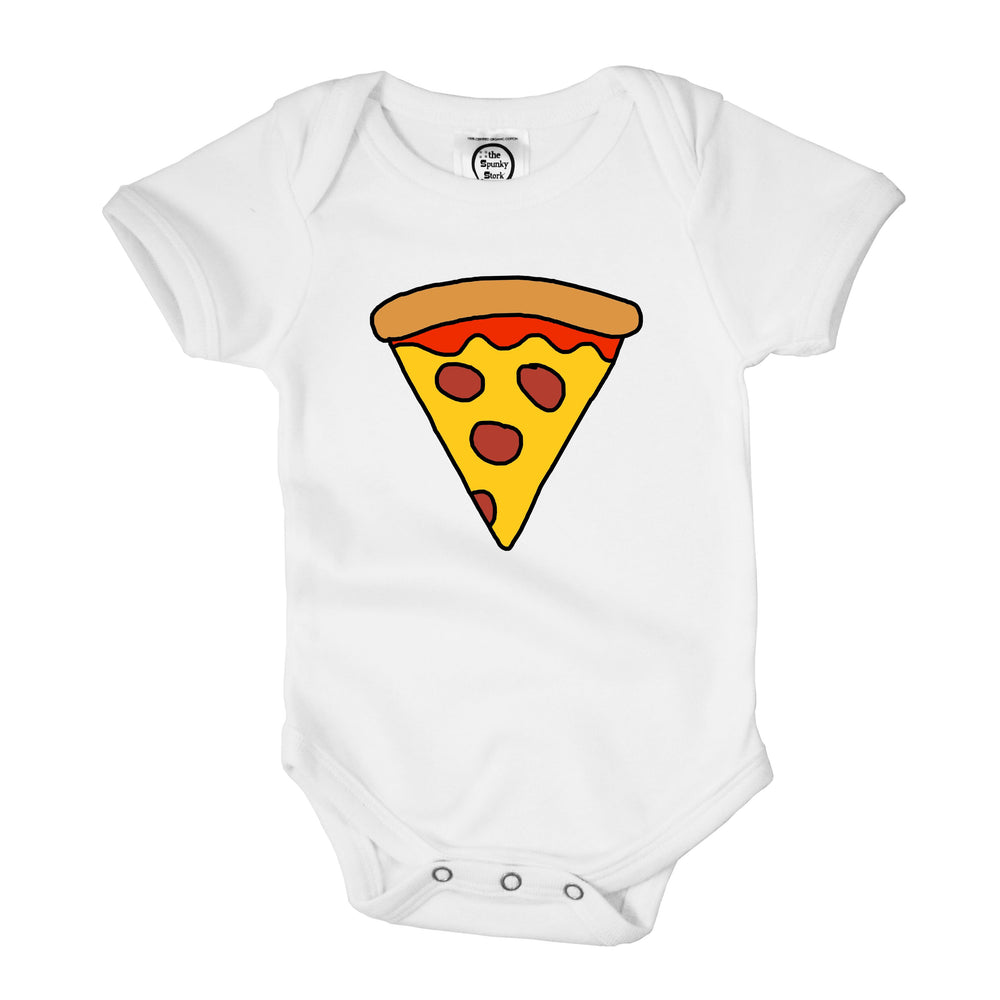 pepperoni pizza slice hand drawn illustration organic cotton baby onesie toddler shirt cartoon