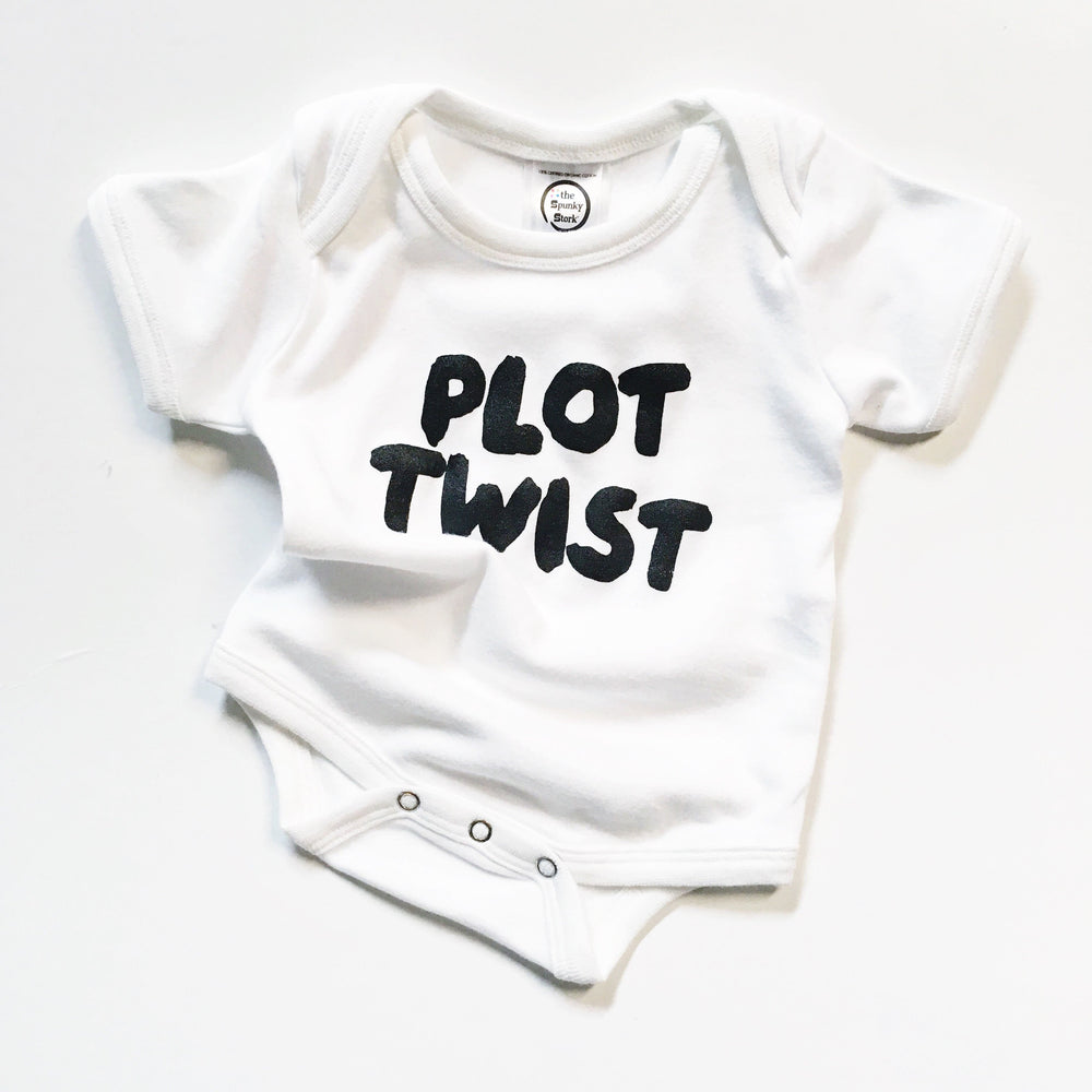 plot twist funny pregnancy announcement for dad husband reveal unexpected surprise pregnant organic cotton baby onesie