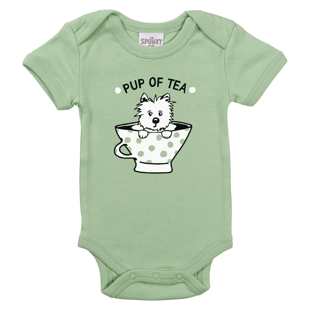 pup tea cup funny british teatime afternoon baby onesie toddle graphic tee shirt with sayings