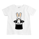rabbit in a hat unisex boy girl organic baby onesie toddler kid youth graphic future magician magic trick tee shirt abracadabra