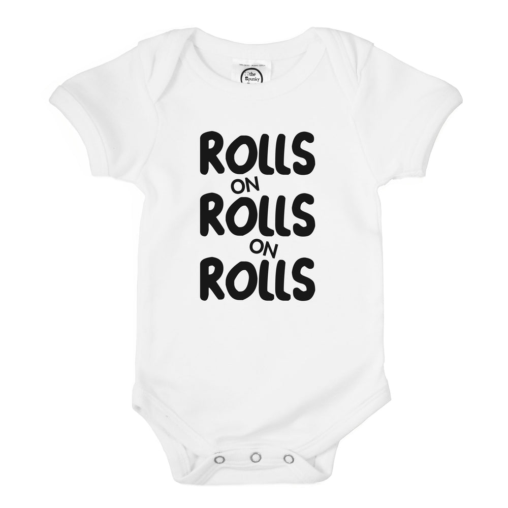 rolls on rolls fat chunky freshly baked organic cotton funny baby onesie