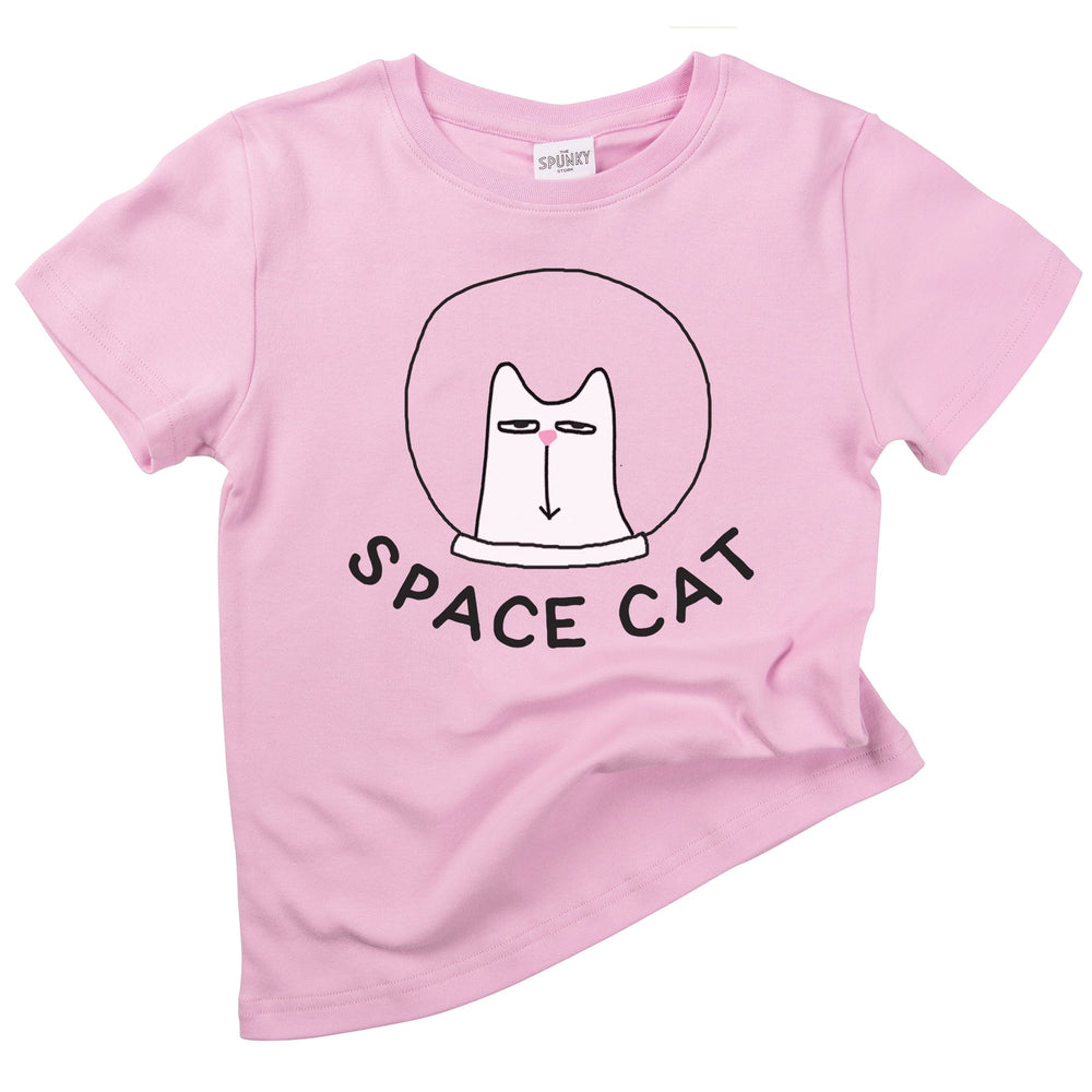 outer space cat astronaut funny organic cotton baby onesie toddler graphic tee shirt