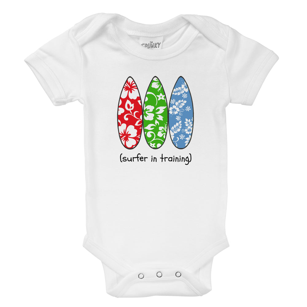 surfer in training organic cotton surfboard baby onesie toddler shirt