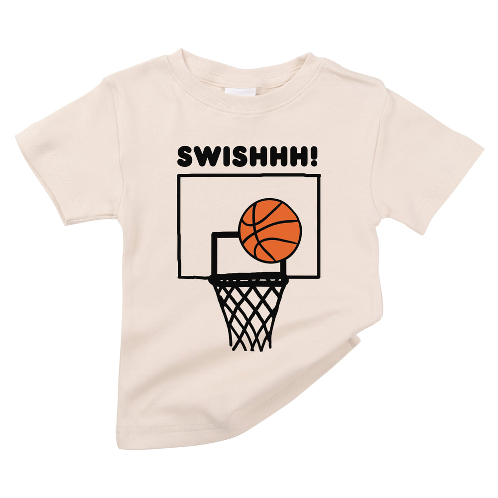 swoosh swish little basketball hoop player organic cotton baby ball net onesie toddler graphic tee shirt