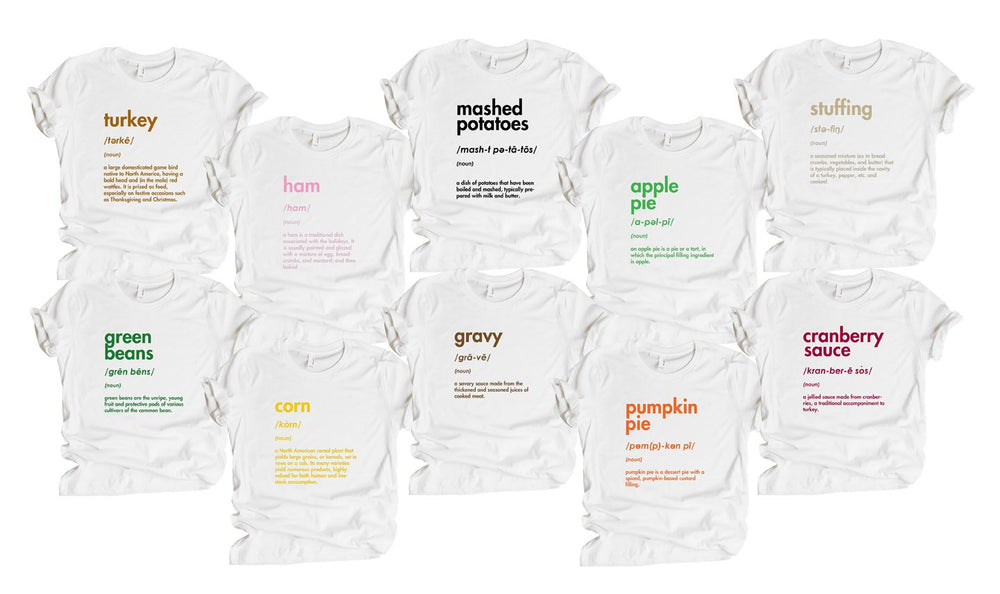 matching family thanksgiving foodie shirts baby toddler youth kid adult funny tees for men women