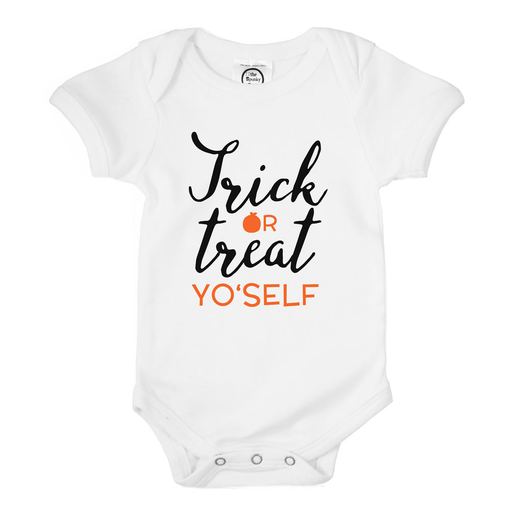trick or treat yourself yoself funny halloween organic cotton baby onesie toddler graphic tee shirt