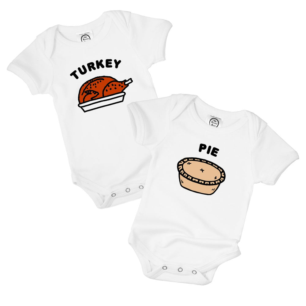 turkey and pie matching twin thanksgiving set organic cotton funny food baby onesie toddler graphic tee shirt