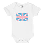pink and blue union jack flag organic cotton baby onesie toddler shirt