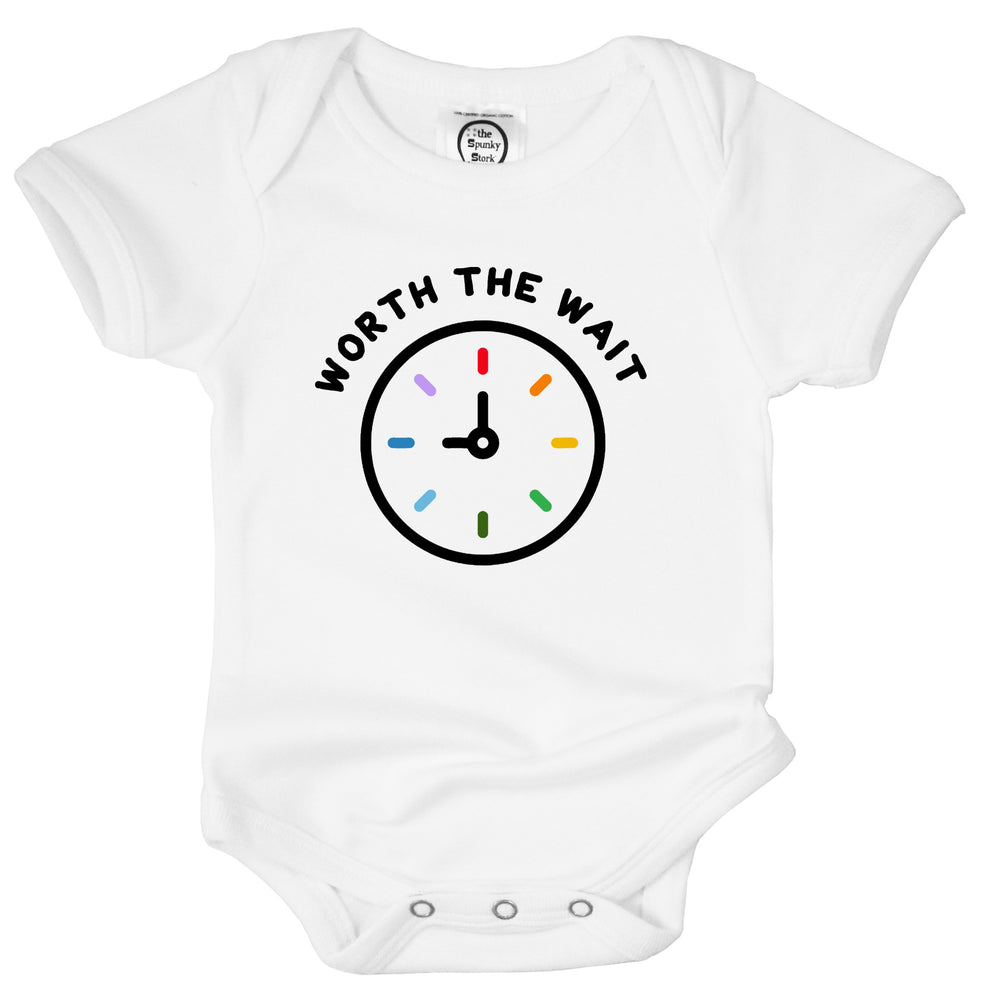 worth the wait rainbow baby organic cotton little miracle clock onesie