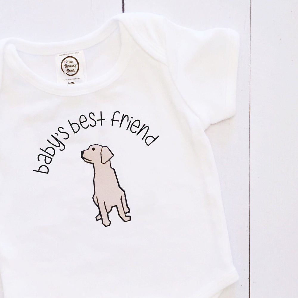 babys best friend golden labrador retriever organic cotton baby newborn dog onesie