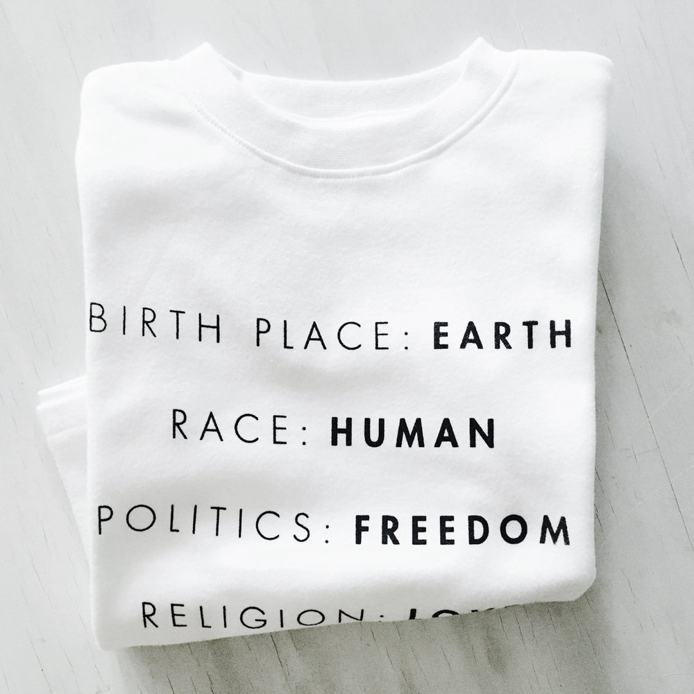 birth place earth race human politics freedom religion love organic cotton baby onesie toddler shirt