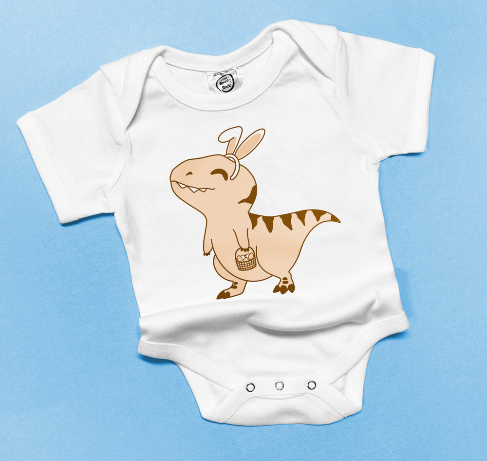 Easter Bunny dinosaur funny baby toddler boys onesie graphic kids tee shirt top