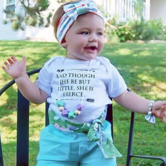 and though she be but little she is fierce shakespeare quote organic cotton baby girl onesie toddler t shirt
