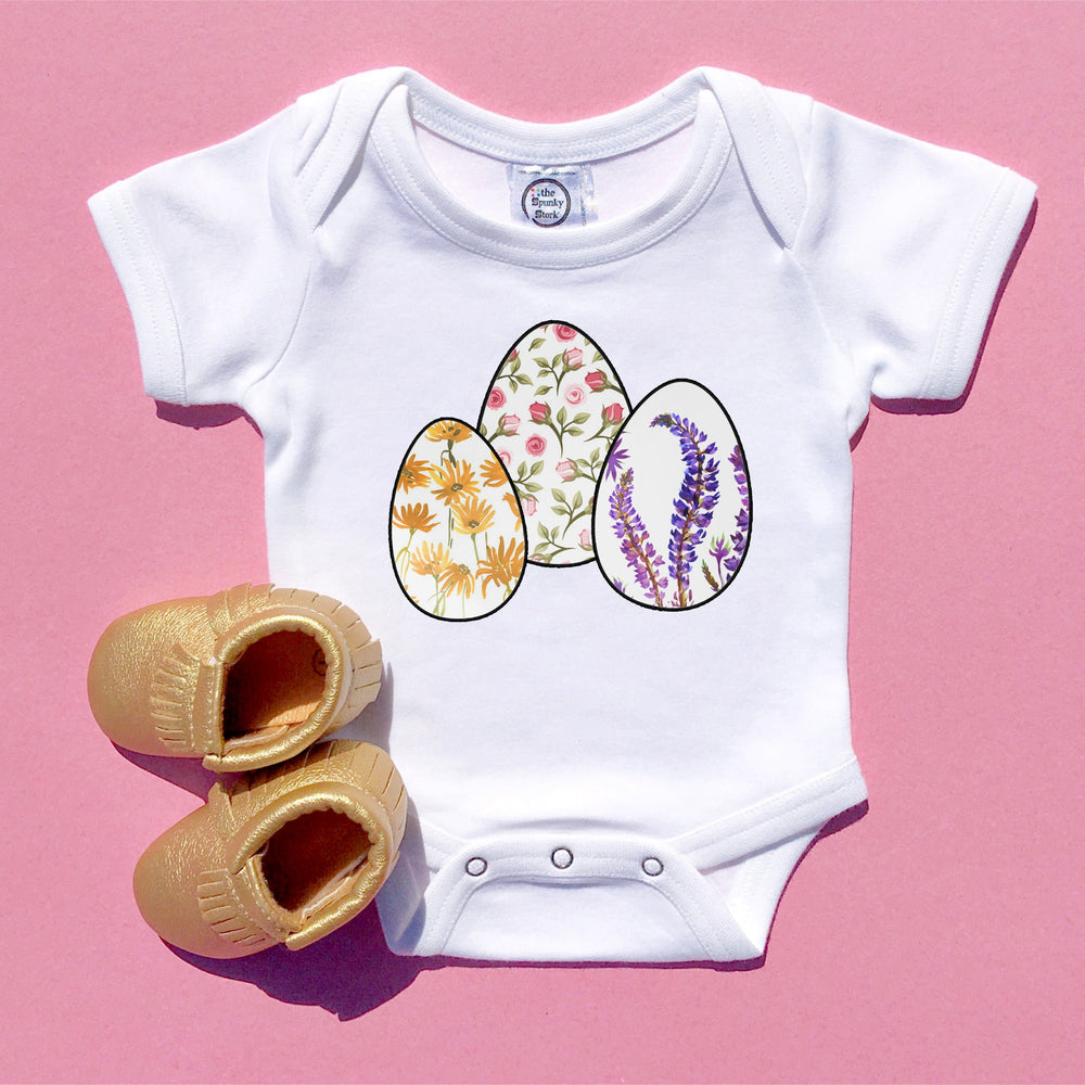 floral easter eggs baby girl onesie flower print toddler youth kids graphic tee shirt