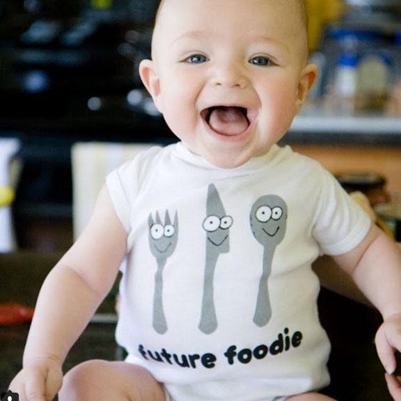future foodie organic cotton fork knife and spoon baby onesie toddler shirt