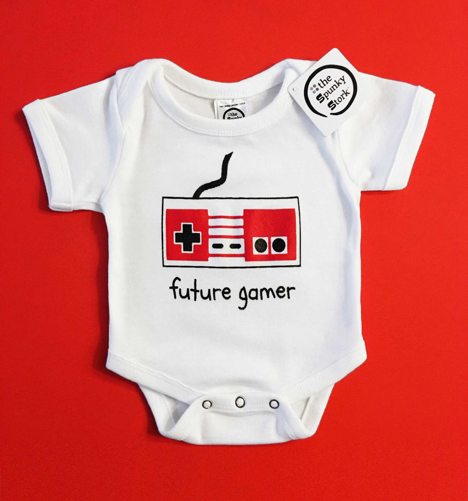 future gamer nintendo retro style organic cotton baby onesie toddler shirt