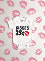 kisses 25 cents my first valentines day organic unisex funny sayings baby onesie