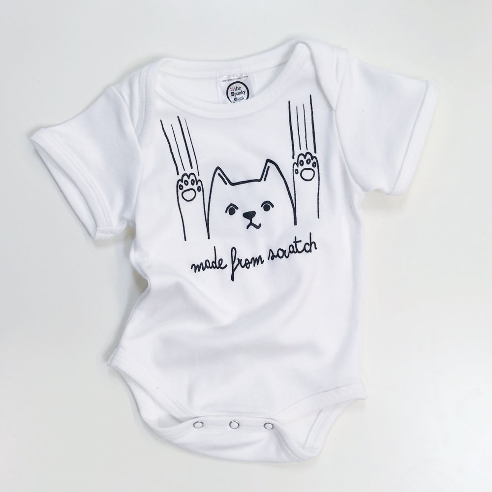 made from scratch freshly baked funny cat organic cotton newborn baby onesie shower gift