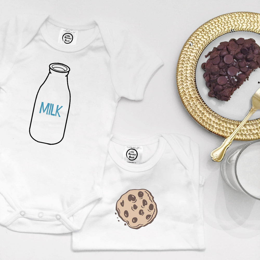 Milk & Cookies Organic Cotton Baby Onesie Toddler Shirt Twin Siblings Set