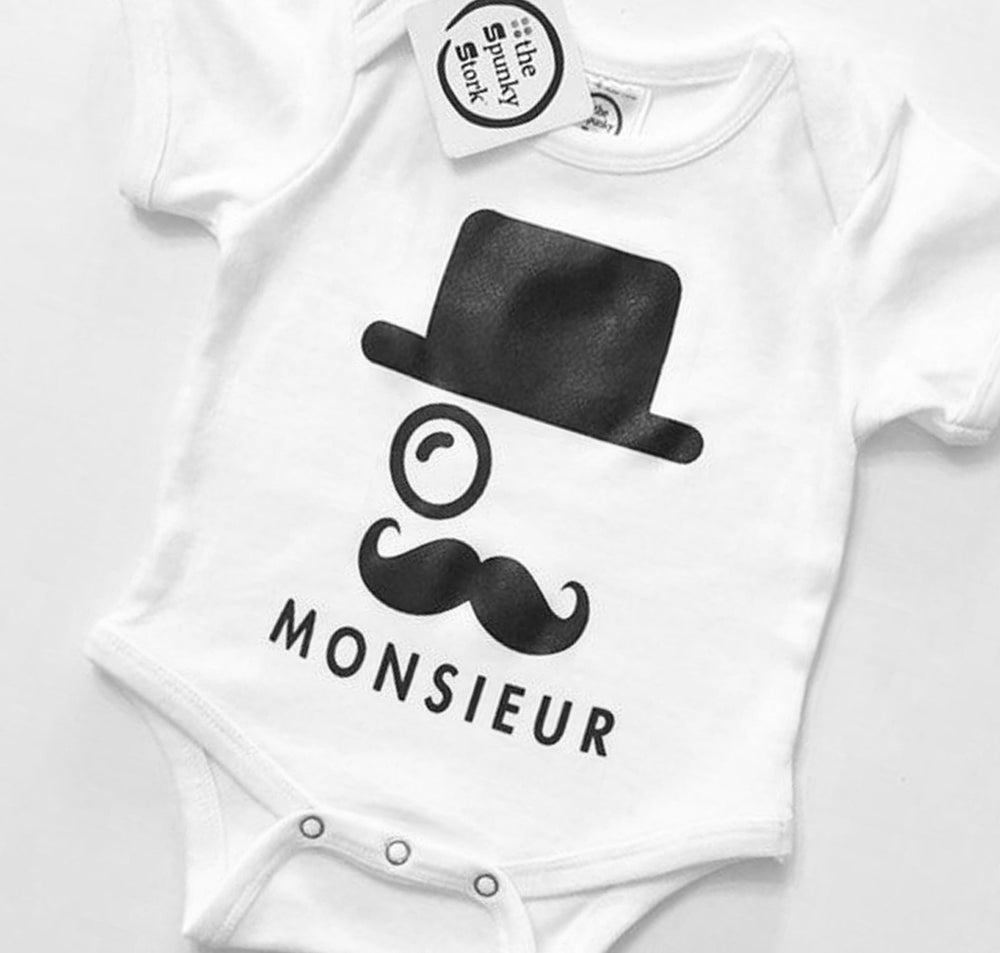 monsieur mustache top hat monocle french style organic cotton baby onesie toddler shirt