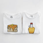 Pancakes & Syrup Organic Cotton Baby Onesie Toddler T-Shirt Matching Twin Siblings Set