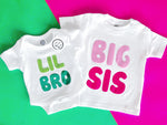 big brother little sister colorful letters typography organic cotton matching sibling shirt set