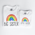 rainbow baby organic cotton big brother little sister birth reveal pregnancy announcement sibling matching shirt