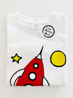 red rocketship organic cotton outer space baby onesie toddler shirt